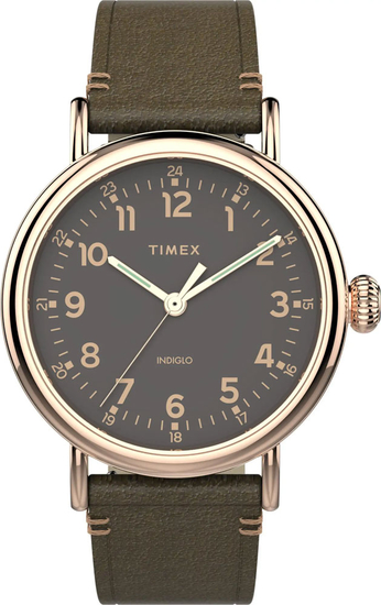 TIMEX Standard 41mm Leather Strap Watch TW2U03900